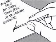 Ukážka použitia tlakom plneného pera ukrytého v noži Victorinox